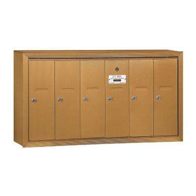 3500 Series Brass Surface-Mounted Private Vertical Mailbox with 6 Doors