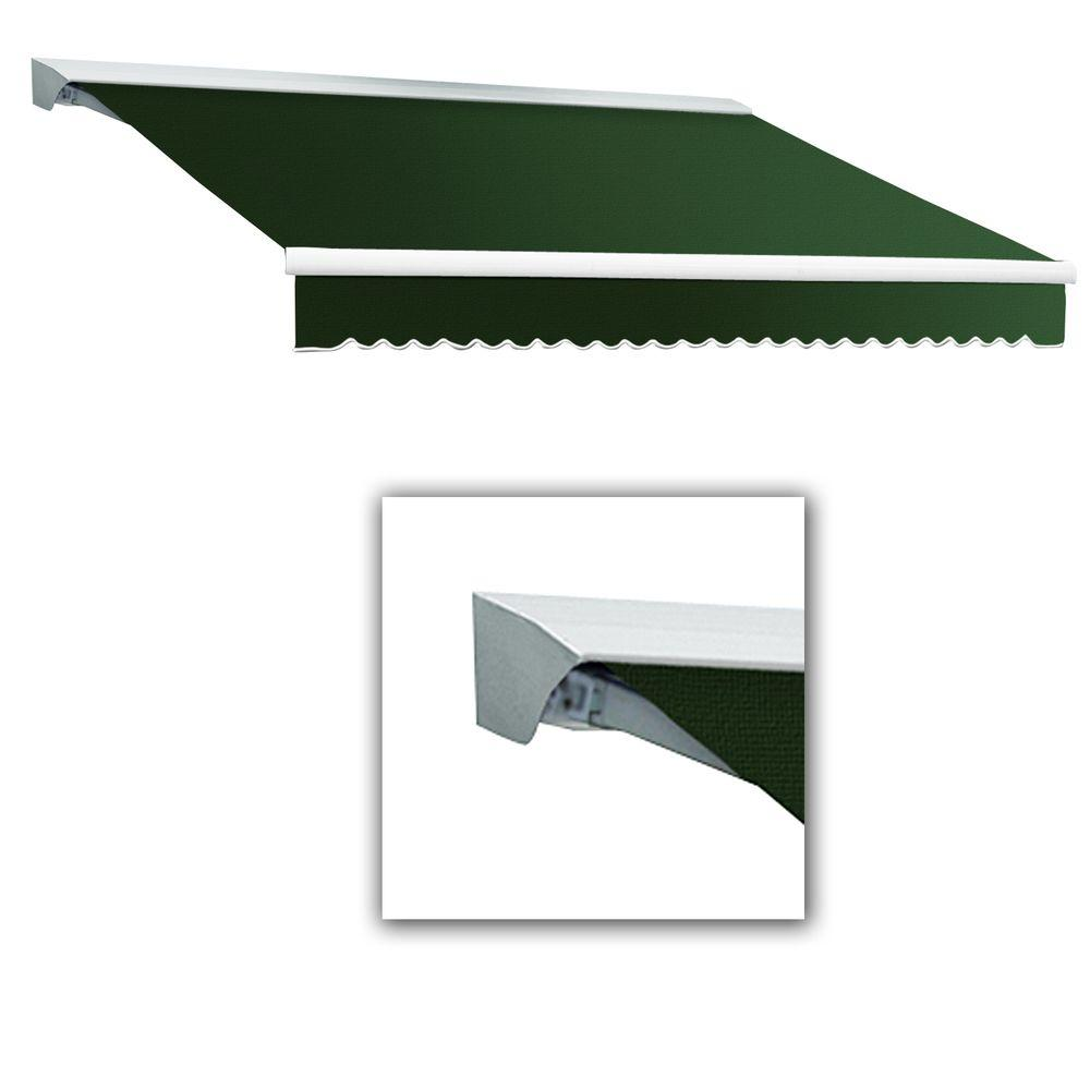 AWNTECH 10 ft. Destin-LX Manual Retractable Acrylic Awning with Hood (96 in. Projection) in Forest Green