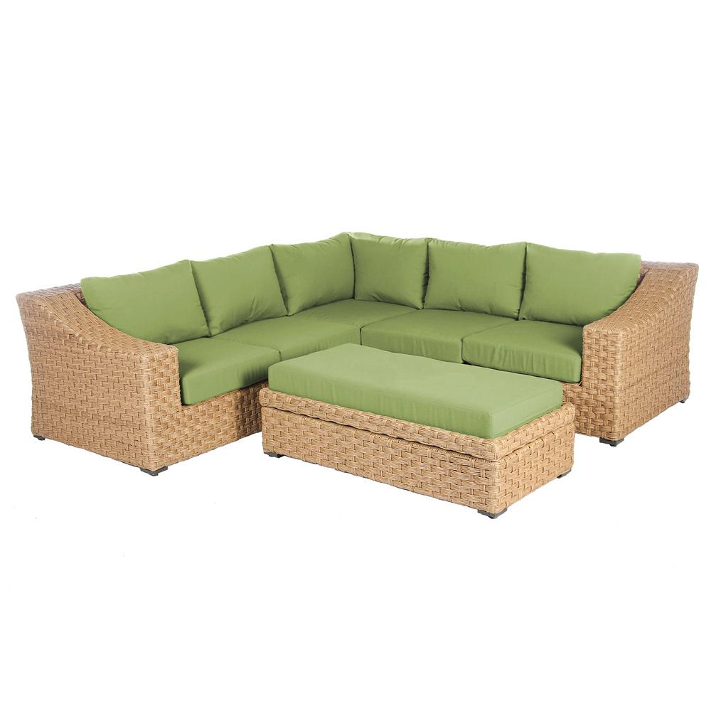 Elizabeth 6-Piece Wicker Patio Sectional Seating Set with Spectrum Cilantro