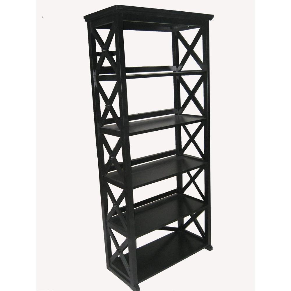 Home Decorators Collection Brexley Black 5-Shelf Bookcase-DISCONTINUED