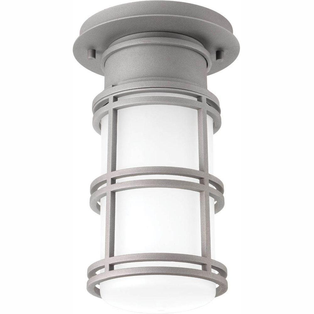 Progress Lighting Bell Collection 1-Light Textured Graphite LED Outdoor Flushmount