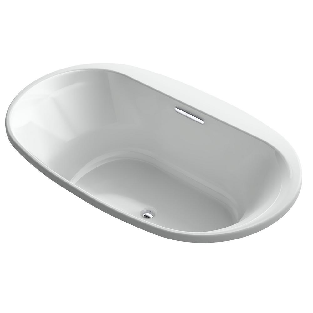 Underscore 6 ft. Acrylic Oval Drop-in Non-Whirlpool Bathtub in Black