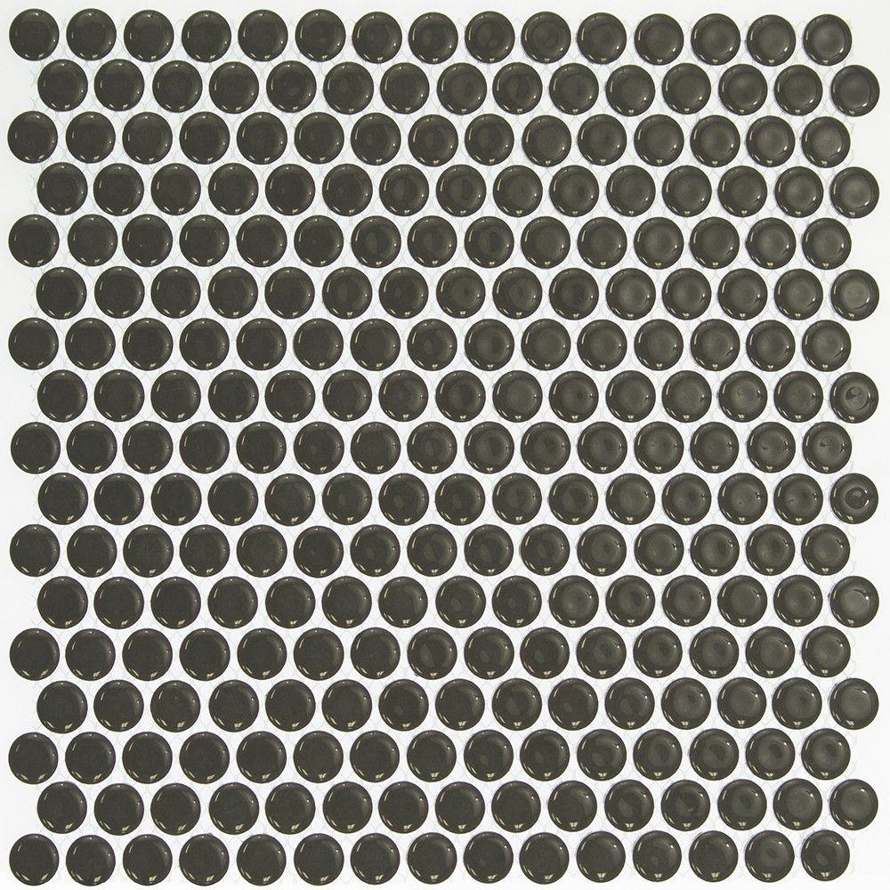 Bliss Edged Penny Round Polished Dark Gray Ceramic Mosaic Floor and