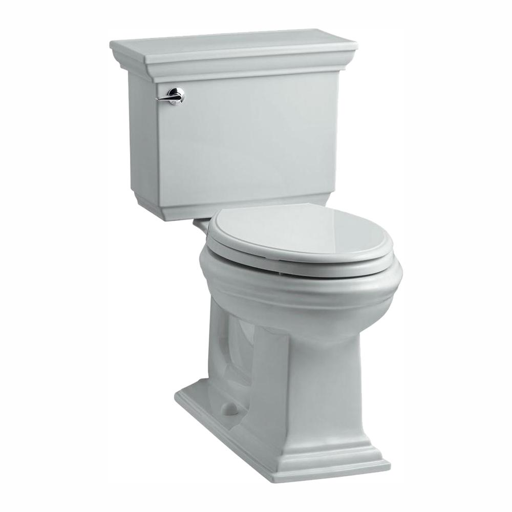 KOHLER Memoirs Stately 2-piece 1.28 GPF Single Flush Elongated Toilet with AquaPiston Flush Technology in Ice Grey