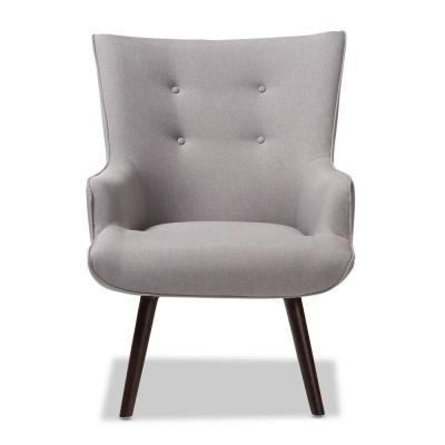 Alden Light Grey Fabric Upholstered Lounge Chair
