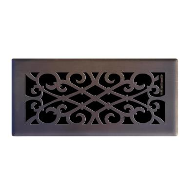 Elegant Scroll 4 in. x 10 in. Steel Floor Register in Oil Rubbed Bronze