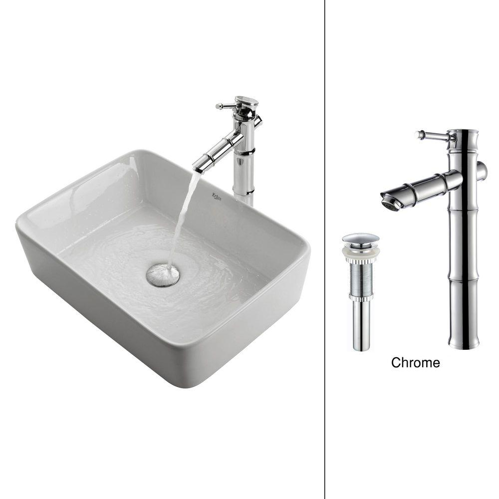 KRAUS Vessel Sink in White with Bamboo Faucet in Chrome-DISCONTINUED