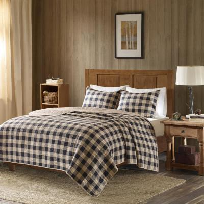 Buffalo Check 3-Piece Tan King/Cal King Oversized Quilt Mini Set