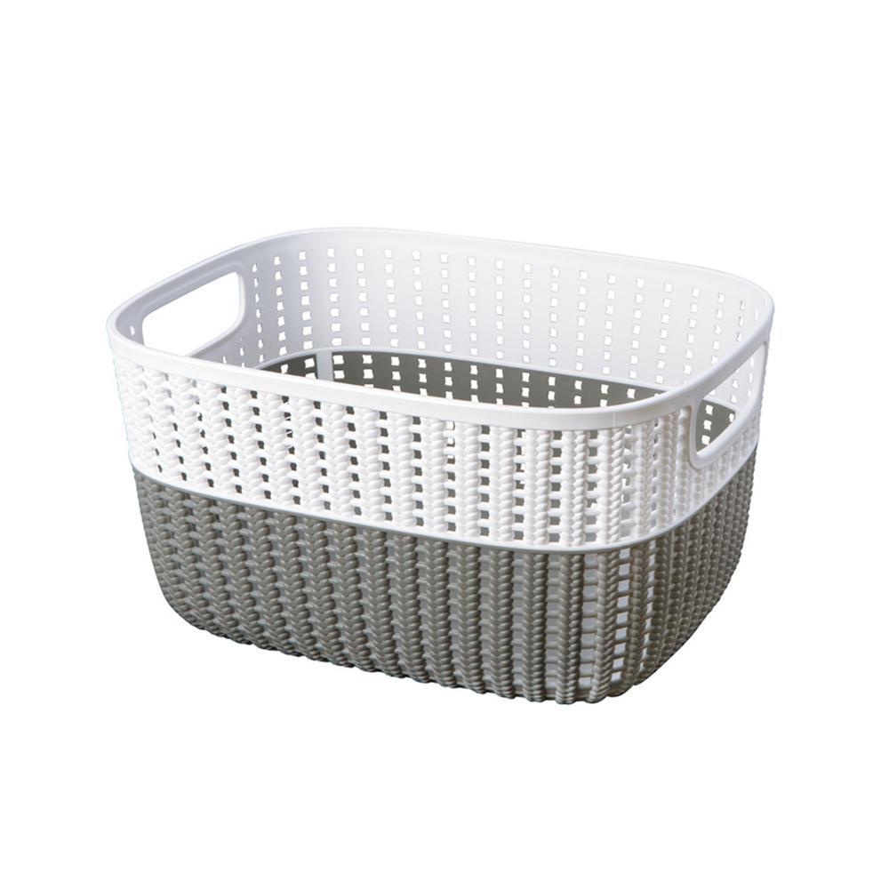 15 in. x 11 in. x 7 in. 2-Tone Decorative Large Storage Basket in Grey