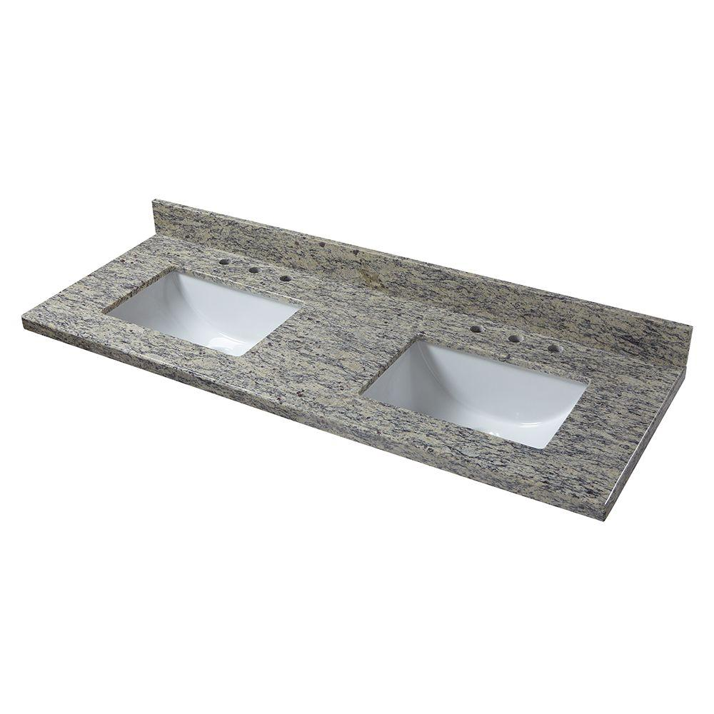 61 in. W Granite Double Basin Vanity Top in Santa Cecilia