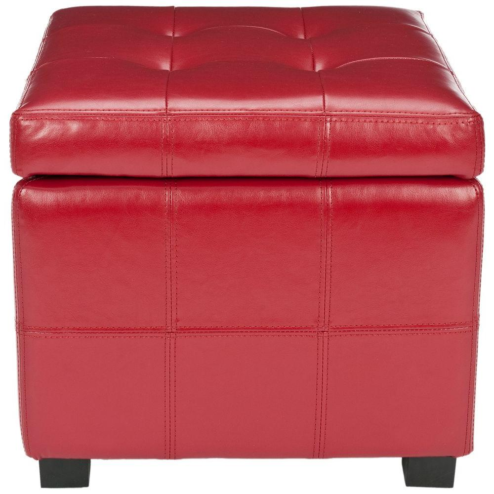 Delicieux Kerrie Red Storage Ottoman