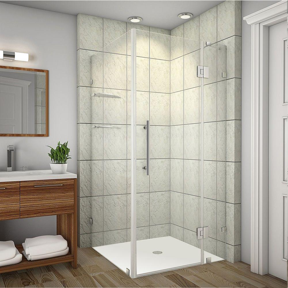 Aston Avalux GS 37 in. x 32 in. x 72 in. Completely Frameless Shower Enclosure with Glass Shelves in Chrome
