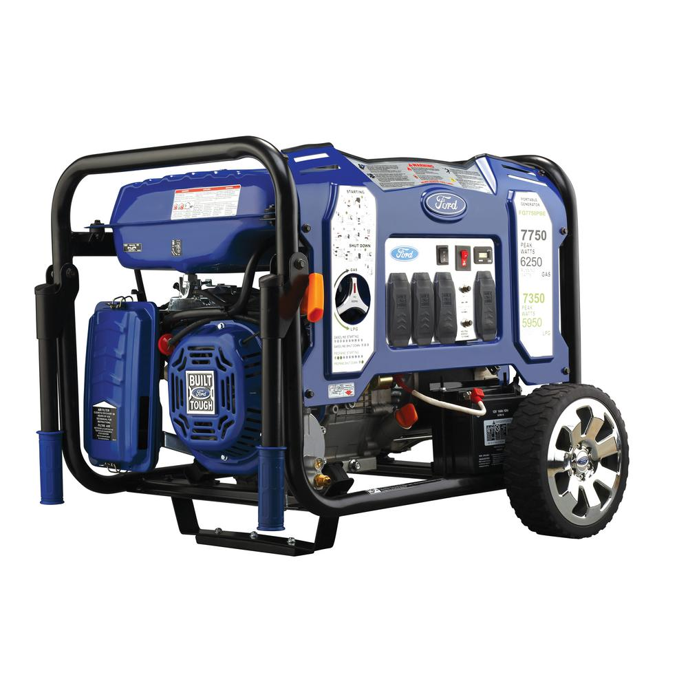 Ford 7,750/6,250-Watt Dual Fuel Gasoline/Propane Powered Electric/Recoil Start Portable Generator 420 cc CARB Compliant