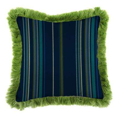 Sunbrella Stanton Lagoon Square Outdoor Throw Pillow with Gingko Fringe