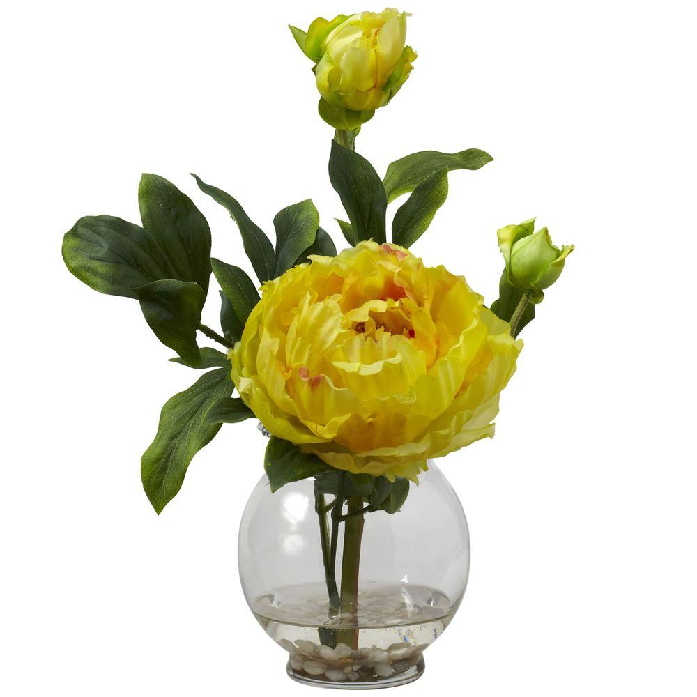 H Yellow Peony With Fluted Vase Silk Flower Arrangement