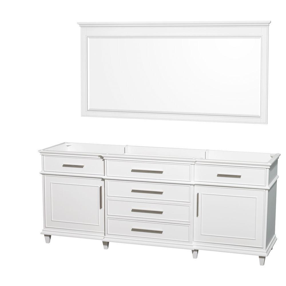 Berkeley 79 in. Vanity Cabinet with Mirror in White