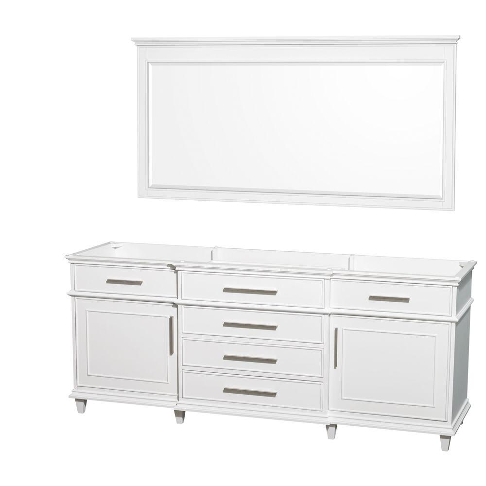 Berkeley 79 in. Vanity Cabinet with Mirror in White
