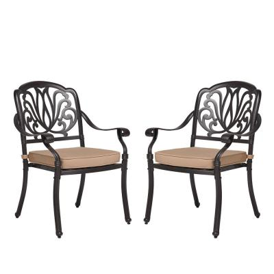 Classic Dark Brown Stacking Cast Aluminum Outdoor Dining Chair with Beige Cushions(2-Pack)