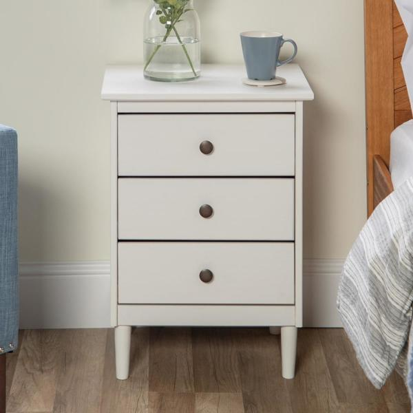 Classic Mid Century Modern 3 Drawer White Solid Wood Nightstand