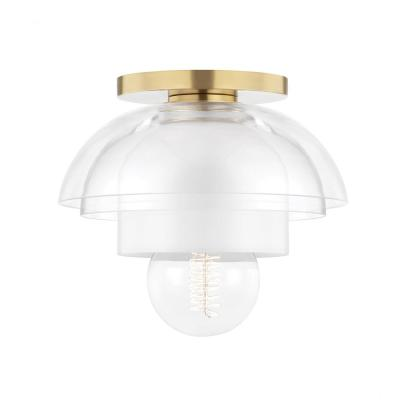 Ruby 8 in. 1-Light Aged Brass Flush Mount