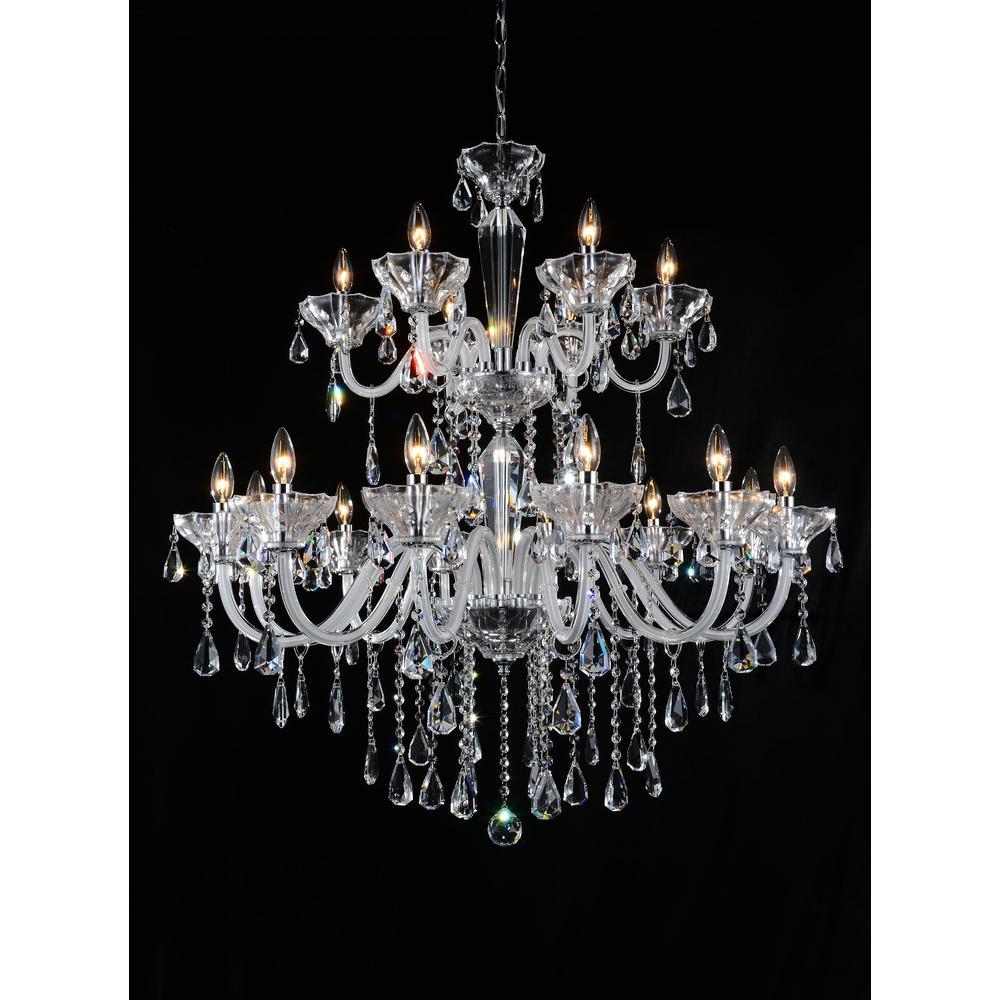 Harvard 18-light chrome chandelier