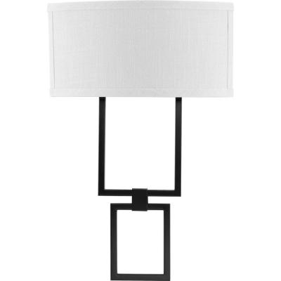 LED Shaded Sconce 1-Light Black Square Wall Sconce