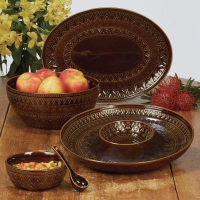 Multi-Colored 128 oz. Aztec Brown Serving Bowl