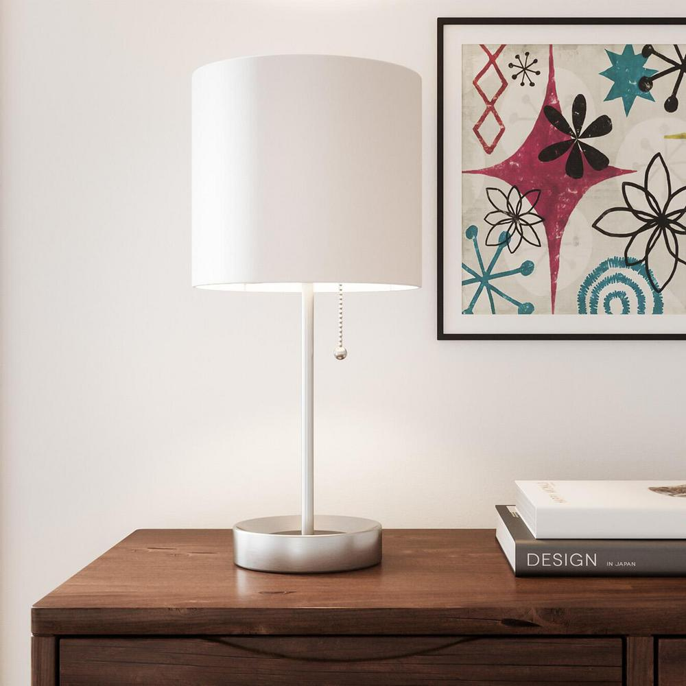 hamptonbay Hampton Bay 17 in. Brushed Nickel Table Lamp with Power Outlet