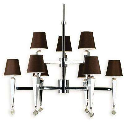 6900 9-Light Chrome Chandelier with Chocolate Shades