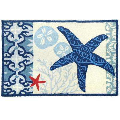 Italian Tile with Starfish Multi 1 ft. 10 in. x 2 ft. 10 in. Accent Rug