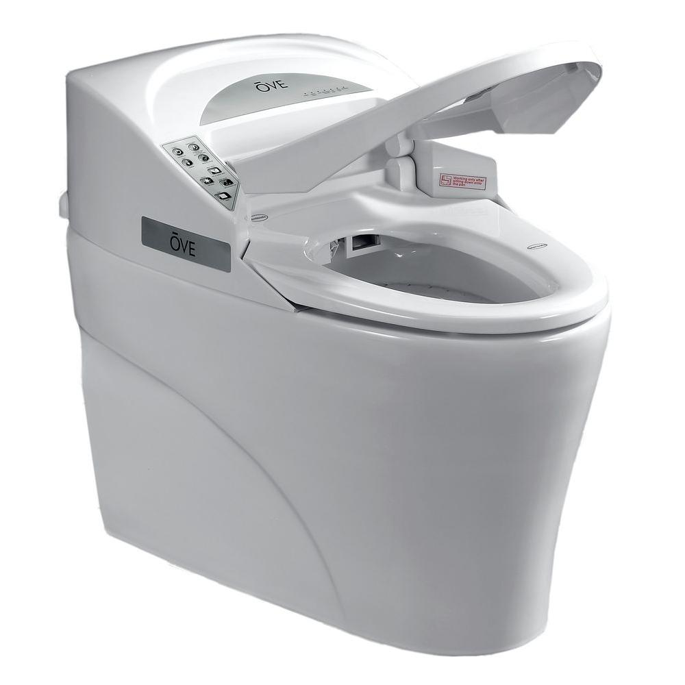 OVE Decors Smart 1-piece 1.28 GPF Single Flush Elongated Toilet and Bidet with Seat in White