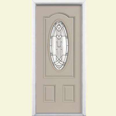 36 in. x 80 in. Chatham 3/4 Oval Canyon View Left Hand Inswing Painted Smooth Fiberglass Prehung Front Door w/ Brickmold