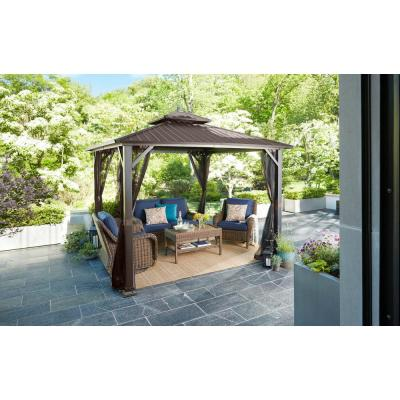 10 ft. x 10 ft. Holden Outdoor Patio Black Hard Top Galvanized Steel Gazebo