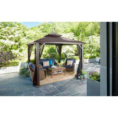 Holden 10 ft. x 10 ft. Black Hard Top Galvanized Steel Gazebo