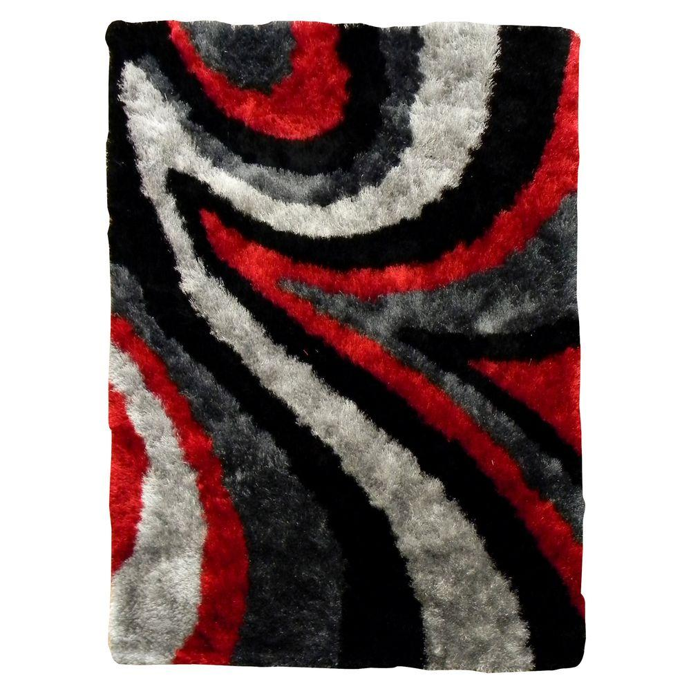 DonnieAnn Flash Shaggy Abstract Wave Red 5 ft. x 7 ft. Indoor Area Rug