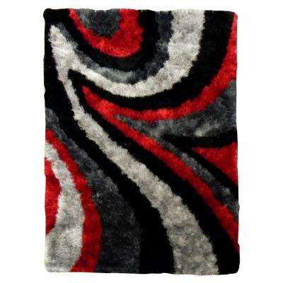 Flash Shaggy Abstract Wave Red 5 ft. x 7 ft. Indoor Area Rug
