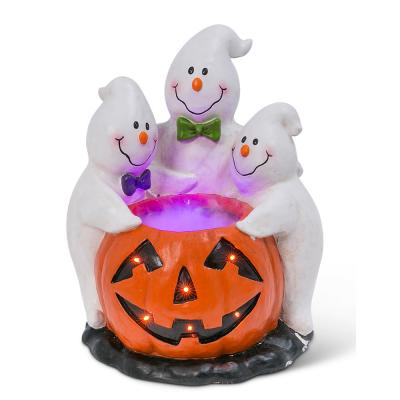 22.24 in. H Magnesium Electric Smoking Jack-O-Lantern with Ghostly Trio