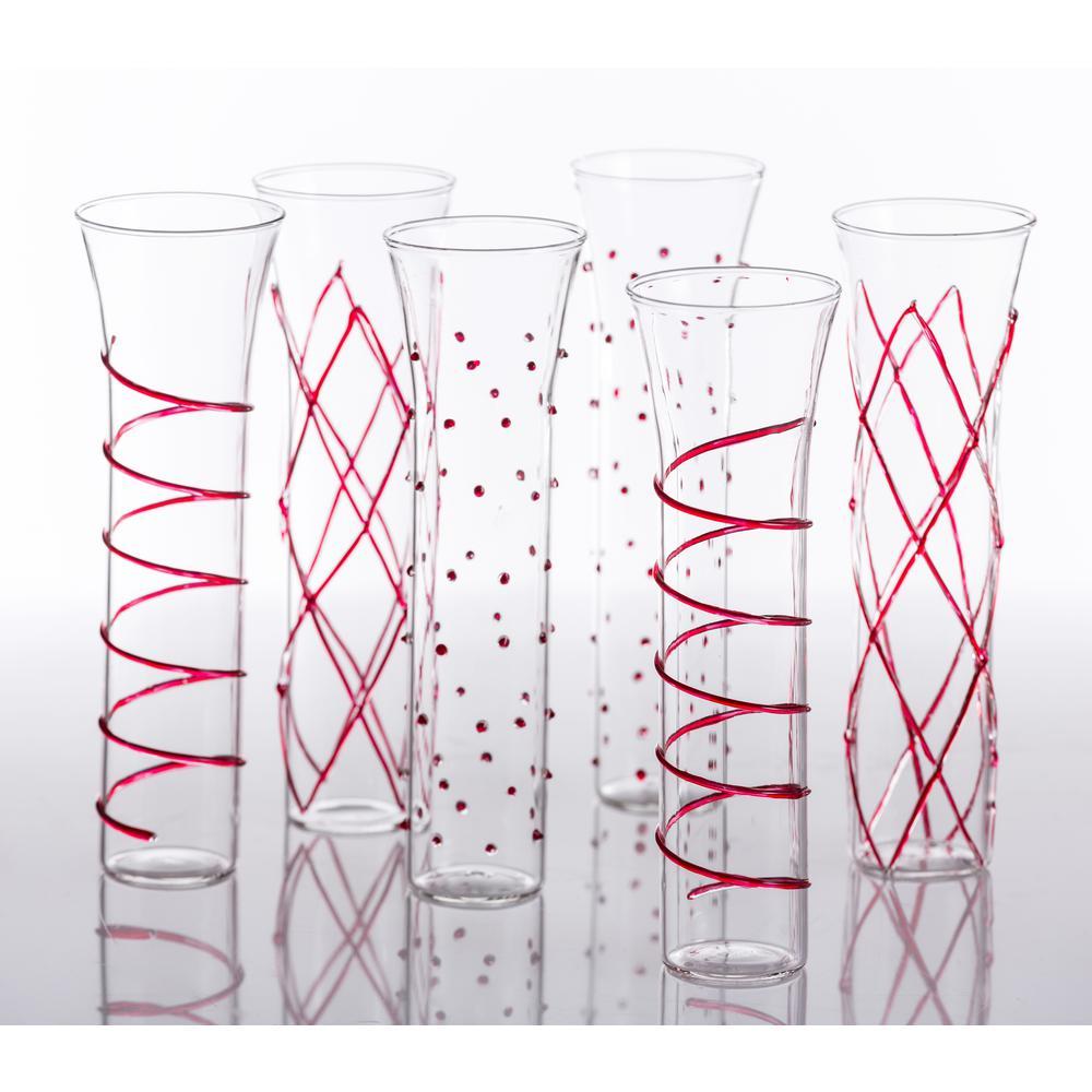 Razzle Dazzle Red Champagne Glassses (Set of 6)