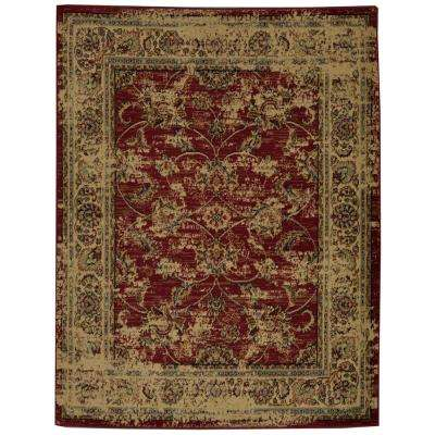 Royal Collection Red Distressed Oriental Floral Design 7 ft. 10 in. x 9 ft. 10 in. Area Rug