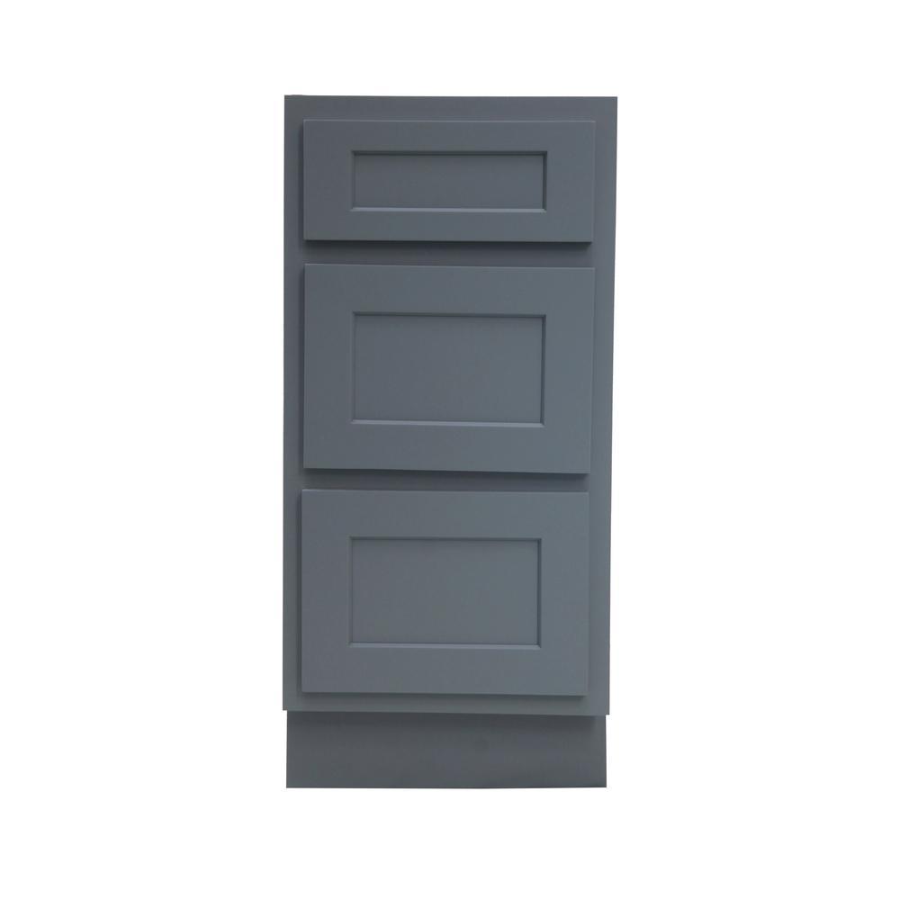 Vanity Art 15 in. W x 21 in. D x 32.5 in. H 3-Drawers Bath Vanity Cabinet Only in Gray