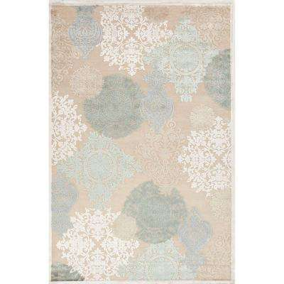 Machine Made Warm Sand/Birch 8 ft. x 10 ft. Floral Pattern Area Rug