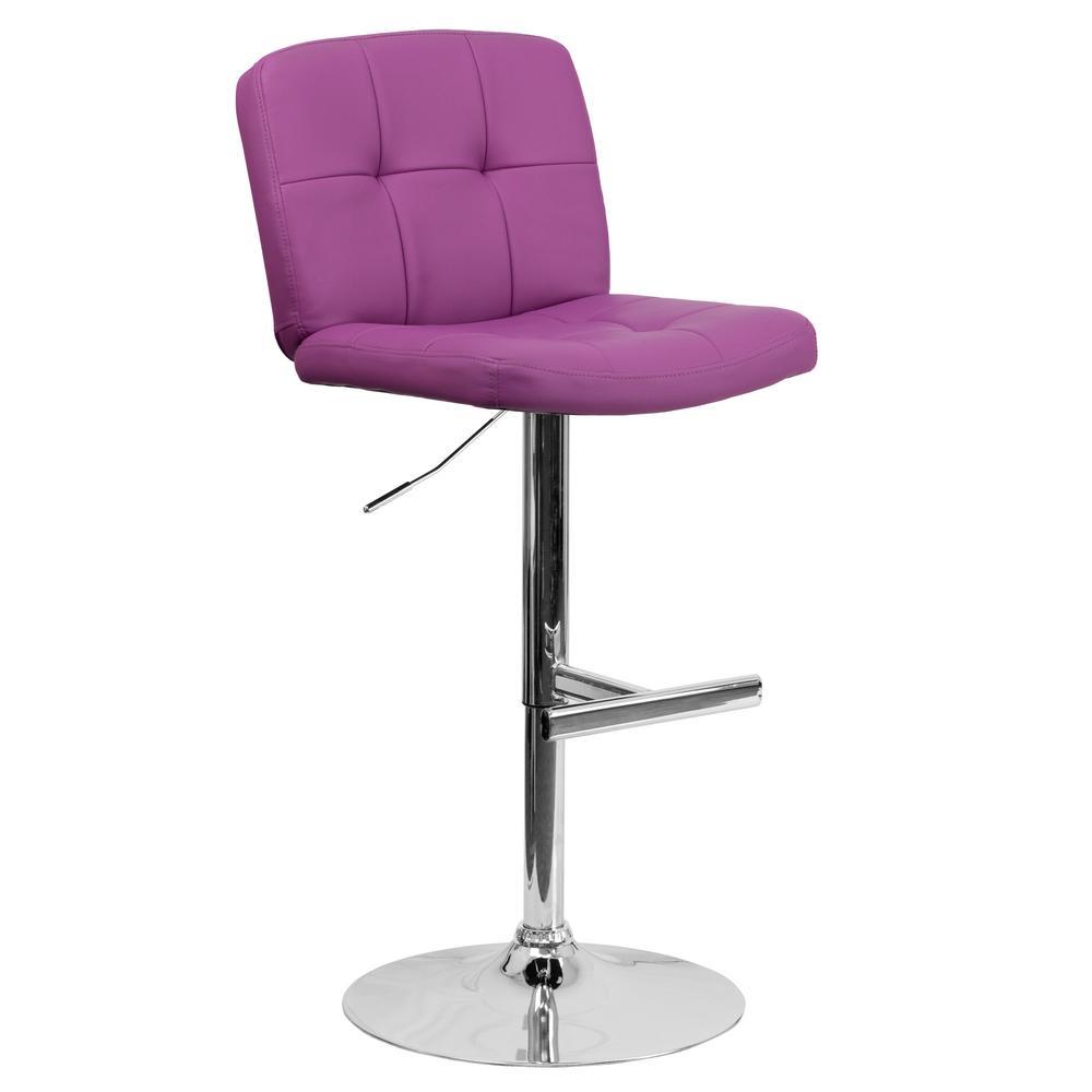 Adjule Height Purple Cushioned Bar Stool