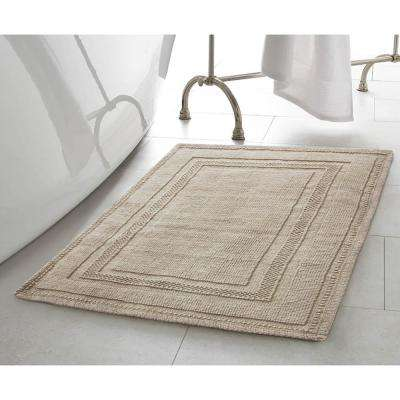 Cotton Stonewash Racetrack 17 in. x 24 in. Bath Rug in Taupe Gray