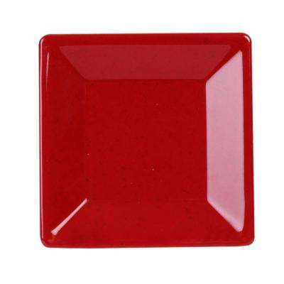 Jazz 4 in. x 4 in. Square Plate in Red (1-Piece)