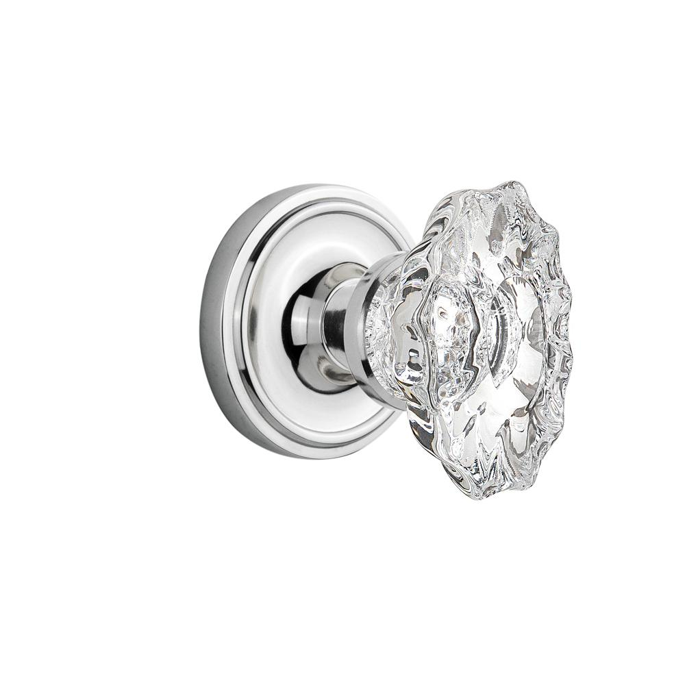 Classic Rosette Interior Mortise Chateau Door Knob in Bright Chrome