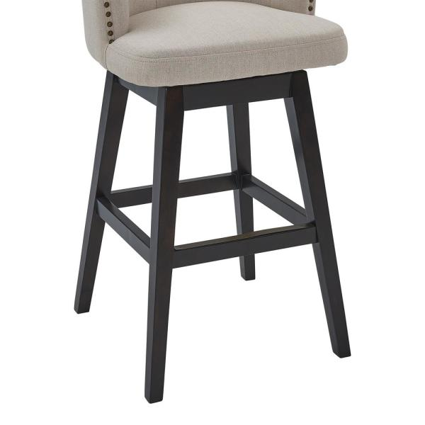 Armen Living Celine 30 Bar Height Wood Swivel Tufted Bar Stool In Espresso Finish With Tan Fabric Lccibaestn30 The Home Depot