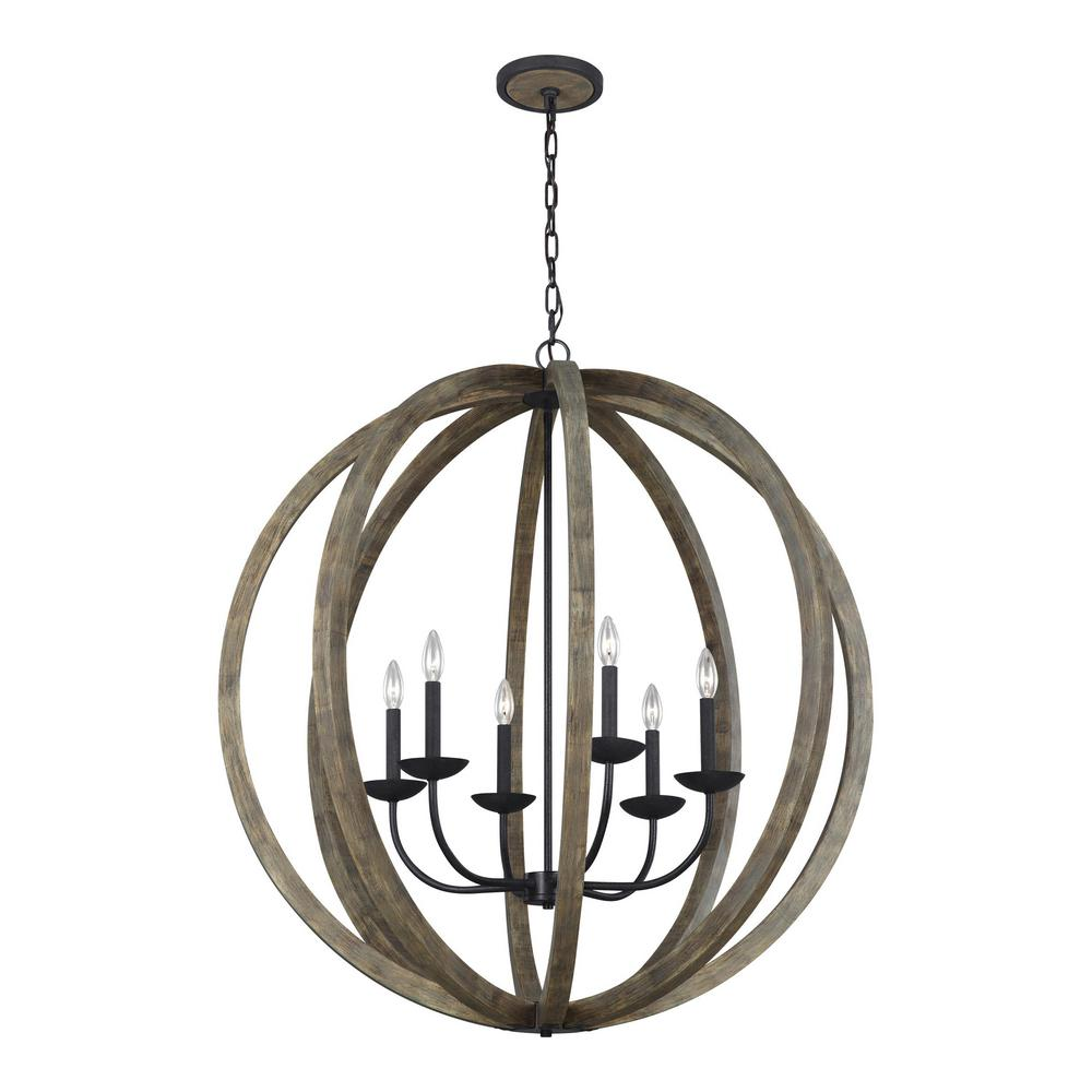 Feiss allier 6 light weathered oak wood and antique forged iron feiss allier 6 light weathered oak wood and antique forged iron chandelier mozeypictures Image collections