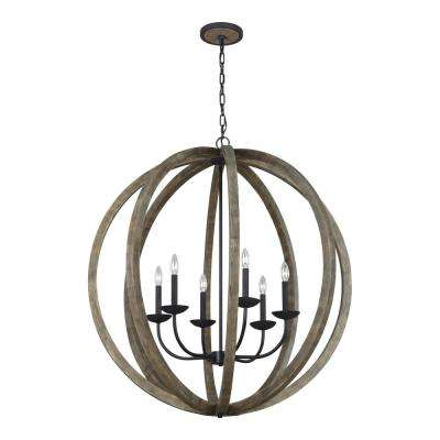Allier 6-Light Weathered Oak Wood and Antique Forged Iron Chandelier