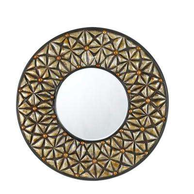 28 in. x 2 in. Slano Round Polyurethane Framed Mirror with Beveled Glass