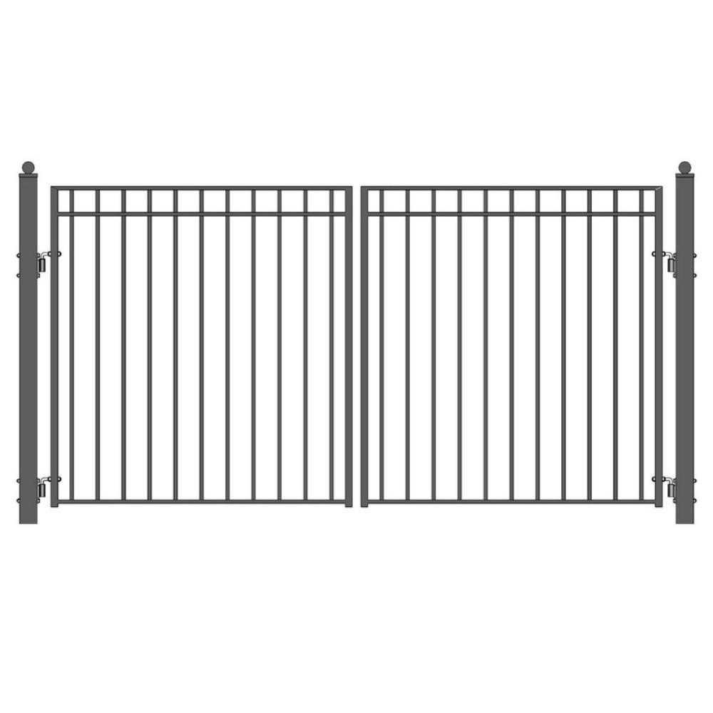 Madrid 14 ft. x 6 ft. Black Steel Dual Driveway Fence Gate